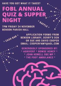 Friends of Benson Library annual quiz and supper night @ Benson parish hall   United Kingdom