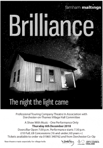 Brilliance: The night the light came @ Dorchester on thames village hall | Dorchester | England | United Kingdom